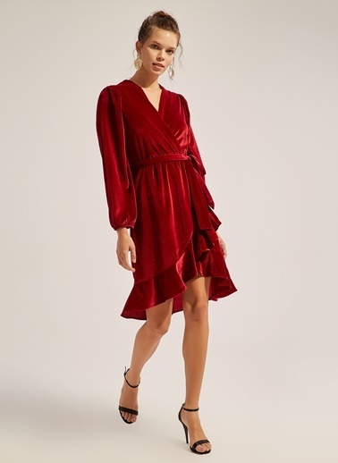 Monamoda Anvelop Volanlı Kadife Elbise Bordo